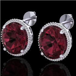 20 CTW Garnet & Micro Pave VS/SI Diamond Halo Earrings 18K White Gold - REF-118Y2K - 20273