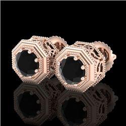 1.07 CTW Fancy Black Diamond Solitaire Art Deco Stud Earrings 18K Rose Gold - REF-72H8A - 37934