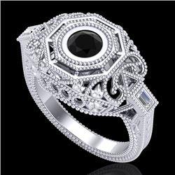 0.75 CTW Fancy Black Diamond Solitaire Engagement Art Deco Ring 18K White Gold - REF-118M2H - 37814
