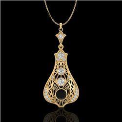 1.75 CTW Fancy Black Diamond Solitaire Art Deco Stud Necklace 18K Yellow Gold - REF-172A8X - 37613
