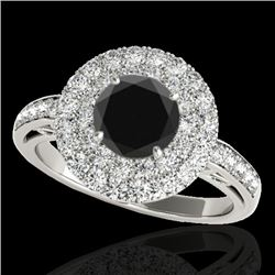 2.25 CTW Certified VS Black Diamond Solitaire Halo Ring 10K White Gold - REF-124H8A - 34205