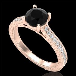 1.45 CTW Fancy Black Diamond Solitaire Engagement Art Deco Ring 18K Rose Gold - REF-109X3T - 37752