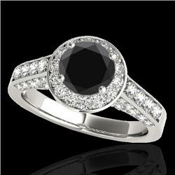 1.8 CTW Certified VS Black Diamond Solitaire Halo Ring 10K White Gold - REF-97Y3K - 34045