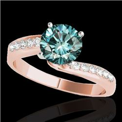 1.15 CTW Si Certified Fancy Blue Diamond Bypass Solitaire Ring 10K Rose Gold - REF-149W3F - 35069