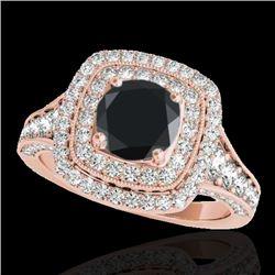 2 CTW Certified VS Black Diamond Solitaire Halo Ring 10K Rose Gold - REF-114Y5K - 33656
