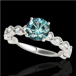 1.75 CTW Si Certified Fancy Blue Diamond Solitaire Ring 10K White Gold - REF-200K2W - 34894