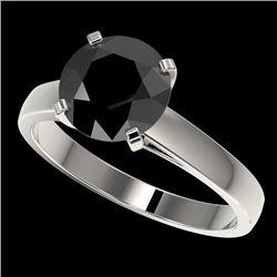 2.50 CTW Fancy Black VS Diamond Solitaire Engagement Ring 10K White Gold - REF-55X5T - 33042