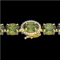 27 CTW Green Tourmaline & VS/SI Diamond Tennis Micro Halo Bracelet 14K Yellow Gold - REF-243A5X - 23