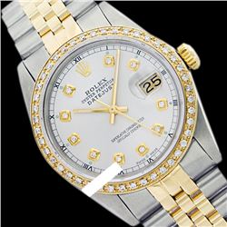Rolex Men's Two Tone 14K Gold/SS, QuickSet, Diamond Dial & Diamond Bezel - REF-557F5M