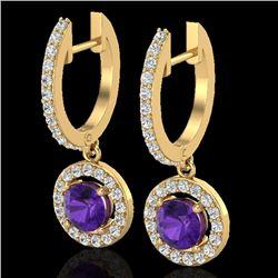 1.75 CTW Amethyst & Micro Pave Halo VS/SI Diamond Earrings 18K Yellow Gold - REF-86F2N - 23247