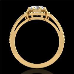 1 CTW VS/SI Diamond Solitaire Art Deco Ring 18K Yellow Gold - REF-318K3W - 36874