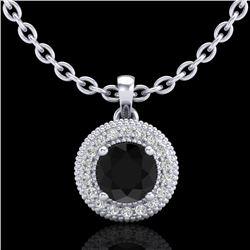 1 CTW Fancy Black Diamond Solitaire Art Deco Stud Necklace 18K White Gold - REF-98H2A - 37660