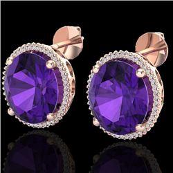 20 CTW Amethyst & Micro VS/SI Diamond Halo Pave Earrings 14K Rose Gold - REF-109X3T - 20261