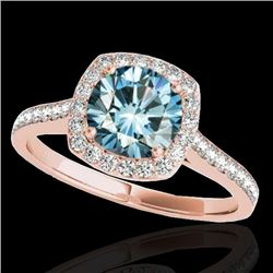 1.4 CTW Si Certified Fancy Blue Diamond Solitaire Halo Ring 10K Rose Gold - REF-200Y2K - 34190