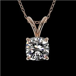 0.50 CTW Certified VS/SI Quality Cushion Cut Diamond Necklace 10K Rose Gold - REF-79T5M - 33170
