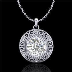 1.11 CTW VS/SI Diamond Solitaire Art Deco Stud Necklace 18K White Gold - REF-315F2N - 36923
