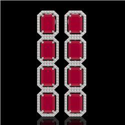 20.59 CTW Ruby & Diamond Halo Earrings 10K White Gold - REF-230W9F - 41573