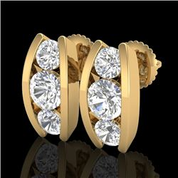 2.18 CTW VS/SI Diamond Solitaire Art Deco Stud Earrings 18K Yellow Gold - REF-300M2H - 37012