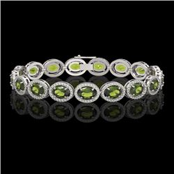 21.71 CTW Tourmaline & Diamond Halo Bracelet 10K White Gold - REF-338W9F - 40622