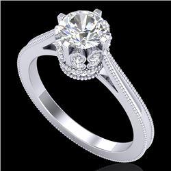 1.14 CTW VS/SI Diamond Art Deco Ring 18K White Gold - REF-220M5H - 36827