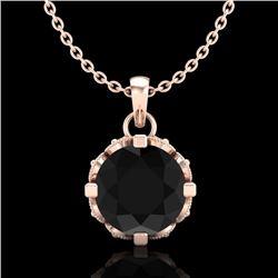 1.14 CTW Fancy Black Diamond Solitaire Art Deco Stud Necklace 18K Rose Gold - REF-81K8W - 37374