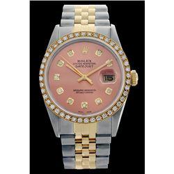 Rolex Men's Two Tone 14K Gold/SS, QuickSet, Diamond Dial & Diamond Bezel - REF-557Y3X
