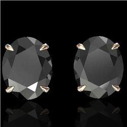 10 CTW Black VS/SI Diamond Designer Solitaire Stud Earrings 14K Rose Gold - REF-212W2F - 21654