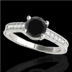 1.75 CTW Certified VS Black Diamond Solitaire Antique Ring 10K White Gold - REF-66M2H - 34768