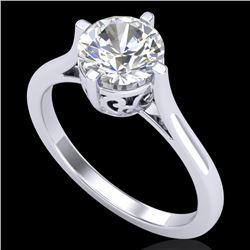 1.25 CTW VS/SI Diamond Solitaire Art Deco Ring 18K White Gold - REF-490H9A - 37226