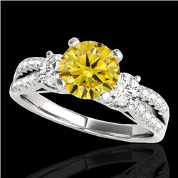 1.5 CTW Certified Si/I Fancy Intense Yellow Diamond 3 Stone Ring 10K White Gold - REF-172M8H - 35410