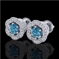 1.51 CTW Fancy Intense Blue Diamond Art Deco Stud Earrings 18K White Gold - REF-178T2M - 37964