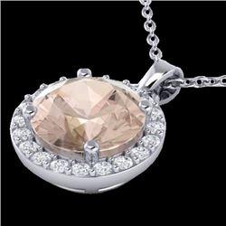 1.50 CTW Morganite & Halo VS/SI Diamond Micro Necklace Solitaire 18K White Gold - REF-58M5H - 21566