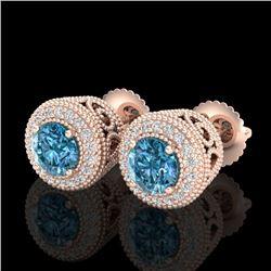 1.55 CTW Fancy Intense Blue Diamond Art Deco Stud Earrings 18K Rose Gold - REF-169A3X - 37657