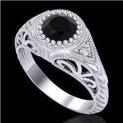 1.07 CTW Fancy Black Diamond Solitaire Engagement Art Deco Ring 18K White Gold - REF-72X5T - 37471