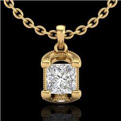 1.25 CTW Princess VS/SI Diamond Solitaire Art Deco Necklace 18K Yellow Gold - REF-315X2T - 37156