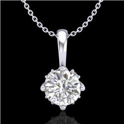 0.62 CTW VS/SI Diamond Solitaire Art Deco Stud Necklace 18K White Gold - REF-101A8X - 37022