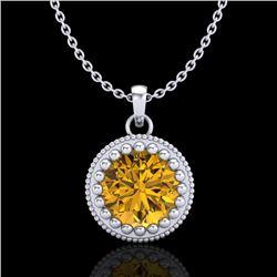 1 CTW Intense Fancy Yellow Diamond Solitaire Art Deco Necklace 18K White Gold - REF-158M2H - 37490