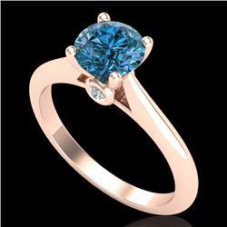 1.08 CTW Fancy Intense Blue Diamond Solitaire Art Deco Ring 18K Rose Gold - REF-161K8W - 38203