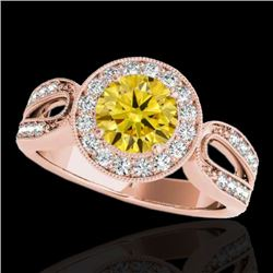 1.4 CTW Certified Si/I Fancy Intense Yellow Diamond Solitaire Halo Ring 10K Rose Gold - REF-180Y2K -