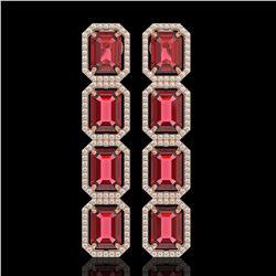 19.44 CTW Tourmaline & Diamond Halo Earrings 10K Rose Gold - REF-290W9F - 41589