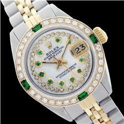 Rolex Men's Two Tone 14K Gold/SS, QuickSet, Diam/Emerald Dial & Diam/Emerald Bezel - REF-575N7A