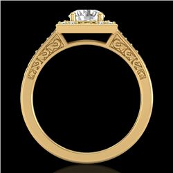 1.1 CTW VS/SI Diamond Art Deco Ring 18K Yellow Gold - REF-227H3A - 37267