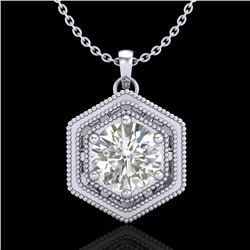 0.76 CTW VS/SI Diamond Solitaire Art Deco Stud Necklace 18K White Gold - REF-178A2X - 36902