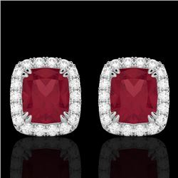 2.50 CTW Ruby & Micro Pave VS/SI Diamond Halo Earrings 10K White Gold - REF-49W3F - 22868