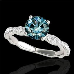 1.4 CTW Si Certified Fancy Blue Diamond Solitaire Ring 10K White Gold - REF-156T4M - 34876