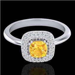 1.16 CTW Citrine & Micro VS/SI Diamond Ring Solitaire Double Halo 18K White Gold - REF-72H9A - 21026