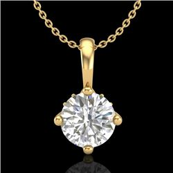 0.82 CTW VS/SI Diamond Solitaire Art Deco Necklace 18K Yellow Gold - REF-180A2X - 37027