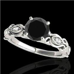 1.1 CTW Certified VS Black Diamond Solitaire Antique Ring 10K White Gold - REF-47X8T - 34633