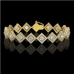 11.7 CTW Princess Cut Diamond Designer Bracelet 18K Yellow Gold - REF-2148N4Y - 42799