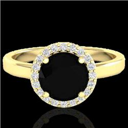 2 CTW Halo VS/SI Diamond Micro Pave Ring Solitaire 18K Yellow Gold - REF-78M8H - 21621